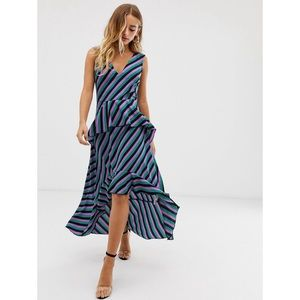Misguided striped ruffle 4 high low dress